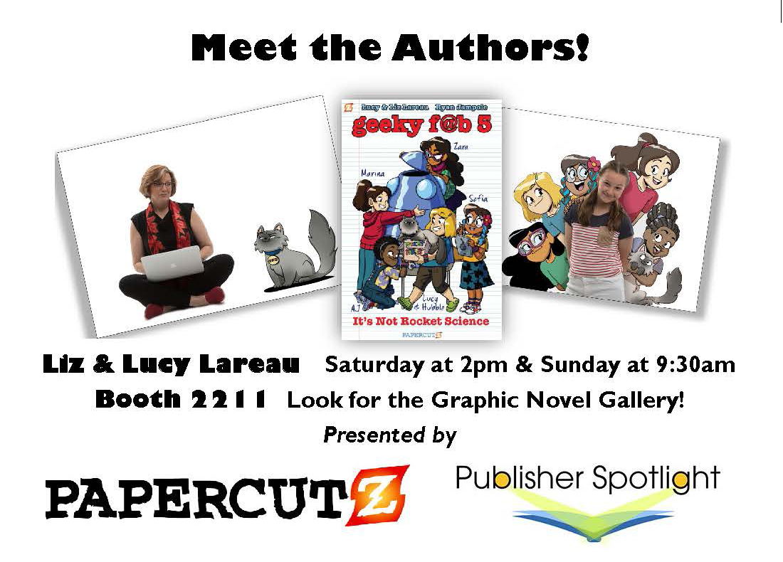 Liz and Lucy Lareau author signing poster