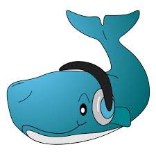 listening whale cartoon